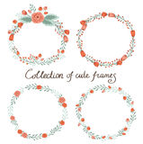 Floral Frame Collection. Set of cute retro flowers arranged on a shape of the wreath perfect for wedding invitations and birthday cards Stock Photo