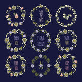 Floral Frame Collection. Set of cute retro flowers Royalty Free Stock Image
