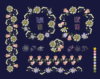 Floral Frame Collection. Set of cute retro flowers Royalty Free Stock Photography