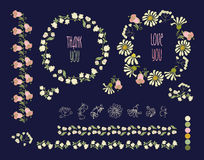 Floral Frame Collection. Set of cute retro flowers Royalty Free Stock Images