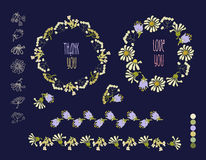 Floral Frame Collection. Set of cute retro flowers Stock Photo