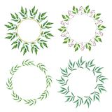 Floral Frame Collection. Set of cute retro leaf arranged un a shape of the wreath. For wedding invitations and birthday cards Royalty Free Stock Photography