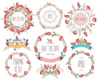 Floral Frame Collection. Wedding set flowers, wreaths, ribbons. Vector vector illustration