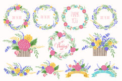 Floral Frame Collection. Wedding set flowers, wreaths, ribbons. Royalty Free Stock Image