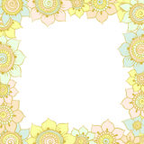 Floral frame. Colored floral frame mendie style Royalty Free Stock Photos
