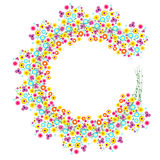 Floral Frame. Colorful flowers arranged in a shape of the wreath. Vector design Stock Photo