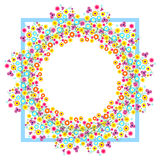 Floral Frame. Colorful flowers arranged in a shape of the wreath. Royalty Free Stock Photos