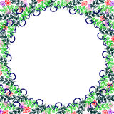 Floral frame. Colorful hand drawn flowers and leaves arranged in a shape of the circle. Royalty Free Stock Image