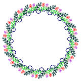 Floral frame. Colorful hand drawn flowers and leaves arranged in a shape of the circle. Royalty Free Stock Photo