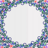 Floral frame. Colorful hand drawn flowers and leaves arranged in a shape of the circle. Vector design. Stock Image