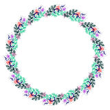 Floral frame. Colorful hand drawn flowers and leaves arranged in a shape of the circle Stock Images