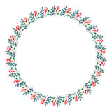 Floral frame. Colorful hand drawn flowers and leaves arranged in a shape of the circle. Stock Image