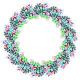Floral frame. Colorful hand drawn flowers and leaves arranged in a shape of the circle. Stock Images