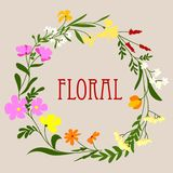Floral frame with colorful spring flowers Royalty Free Stock Images