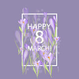 Floral frame with crocuses and  snowdrops. Purple background Royalty Free Stock Image