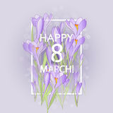 Floral frame with crocuses and  snowdrops. Purple background Royalty Free Stock Images