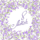 Floral frame with crocuses and  snowdrops. Purple background Stock Images
