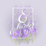 Floral frame with crocuses and  snowdrops. Purple background Stock Photography