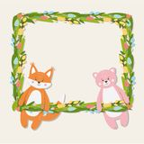 Floral frame with cute funny fox and bear stock illustration