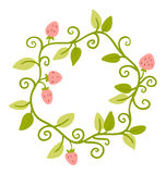 Floral Frame. Cute retro berries wreath perfect for wedding invitations and birthday cards. And other holiday and cute summer background royalty free illustration