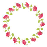 Floral Frame. Cute roses arranged in a shape of the wreath Royalty Free Stock Photography