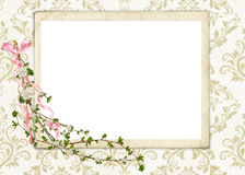 Floral frame on damask Royalty Free Stock Photo