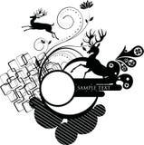 Floral frame with deer royalty free illustration