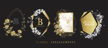 Floral frame design. Wedding invitation arrangement. Botanical composition. Hand drawn flowers. Composition for card, invitation, save the date stock illustration