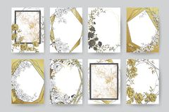 Floral frame design. Wedding invitation arrangement. Botanical composition. Hand drawn flowers. Composition for card, invitation, save the date vector illustration