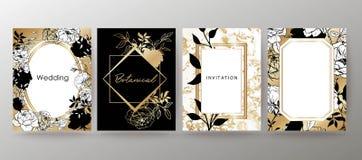 Floral frame design. Wedding invitation arrangement. Botanical composition. Hand drawn flowers. Composition for card, invitation, save the date. White and gold vector illustration