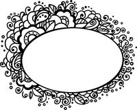 Floral frame. With doodle elements Stock Photos