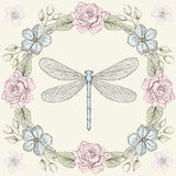 Floral frame and dragonfly engraving style Stock Images
