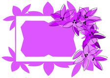 isolated frame in blue with flowers Stock Photos