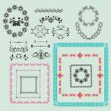 Floral frame and element for design-illustration Royalty Free Stock Images