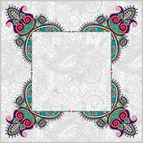 Floral frame, ethnic ukrainian ornament on paisley Stock Photos