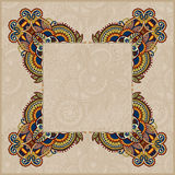 Floral frame, ethnic ukrainian ornament on paisley Royalty Free Stock Photos