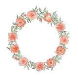 Floral frame  Flourish ethnic background. Flower rose greeting card. Floral frame round shape with summer flowers. Floral bouquet with rose. Vintage Greeting Stock Photography
