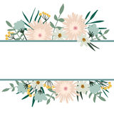Floral frame. Flower bouquet vintage cover. Flourish card Royalty Free Stock Photos