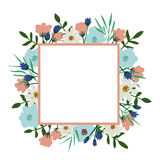 Floral frame. Flower bouquet vintage cover. Flourish card with with place for your text Stock Image