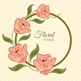 Floral frame with flowers decoration. Stock Images