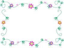 Floral Frame of Flowers, Vines, and Leaves Royalty Free Stock Image