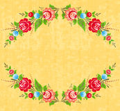 Floral frame in folk style Royalty Free Stock Photo