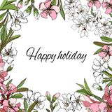 Floral frame with gentle pink and white flowers for greeting text, invitations and cards. Floral frame with gentle pink and white flowers for greeting text royalty free illustration