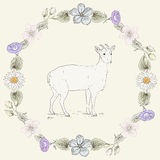 Floral frame and goat Vintage engraving style Stock Image