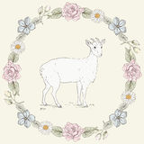 Floral frame and goat Vintage engraving style Stock Images