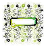 Floral frame, green background royalty free illustration