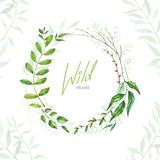 Floral Frame. Green retro leaf arranged un a shape of the wreath stock illustration