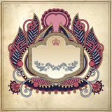 Floral frame on grunge paper background, page Stock Photo