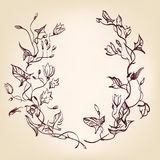 Floral frame  hand drawn vintage Royalty Free Stock Photos