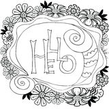Floral frame with handmade calligraphy and text Hello. Vector illustration. Stock Image